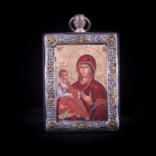 002/0029 Silver icon of three hands virgin Mary