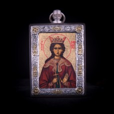 002/0030 silver icon of Saint Barbara