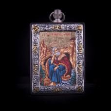 002/0036 Silver icon of Prophet elijah